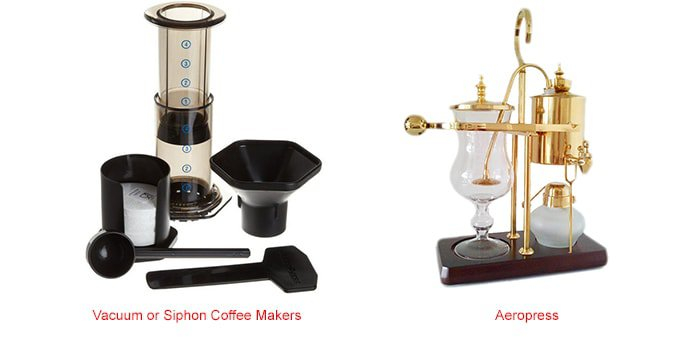 A variety of coffeemakers